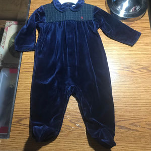 Ralph Lauren blue fuzzy footed sleeper 6-9M NWT
